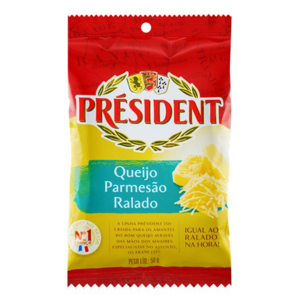 Oferta de Queijo ralado President 50g por R$4,89