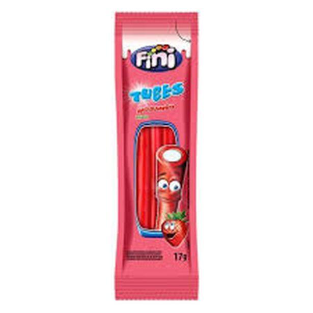 Oferta de Bala Fini regaliz tubes morango ácido 17g por R$1,29