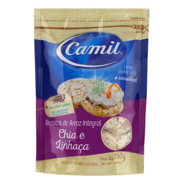 Oferta de Biscoito de arroz Camil com chia e linhaça 150g por R$7,49