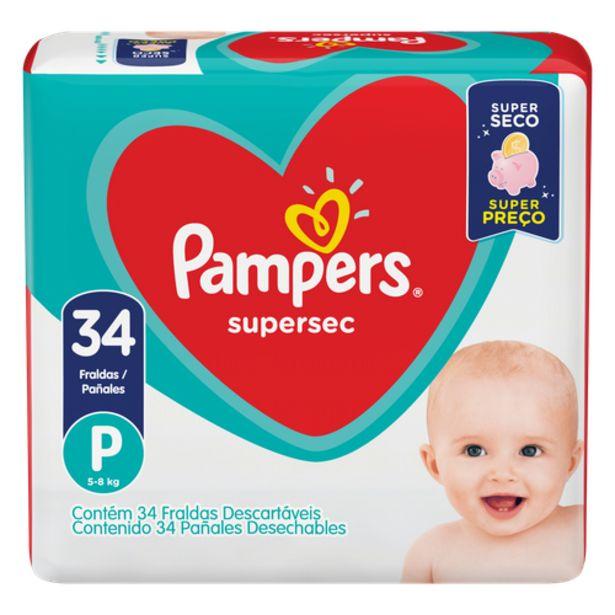 Oferta de Fralda Pampers supersec P por R$37,98