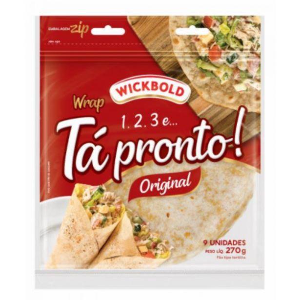 Oferta de Tortilha wrap Wickbold 1, 2, 3 e... Tá Pronto! original 270g por R$5,99
