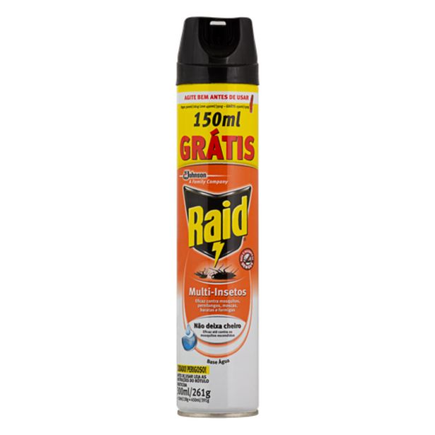 Oferta de Inseticida aerosol Raid multi base água 420ml por R$9,98
