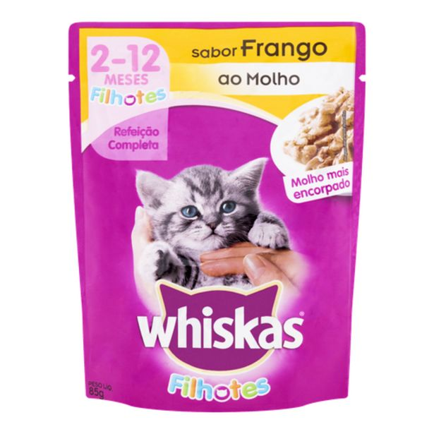 Oferta de Ração para gato Whiskas filhote frango 85g por R$2,98