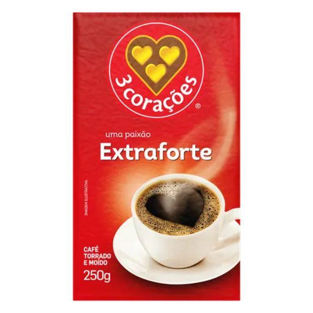 Oferta de Café em pó 3 Corações extra forte 250g por R$7,99