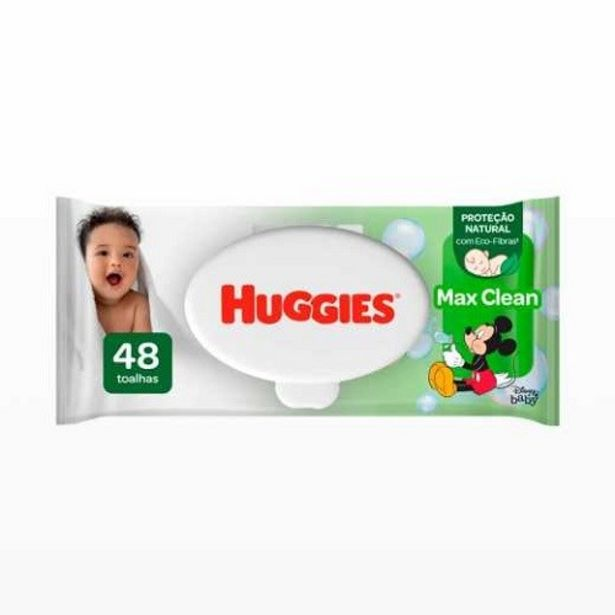Oferta de Lenço Umedecido Huggies Max Clean 48Unid por R$14,99