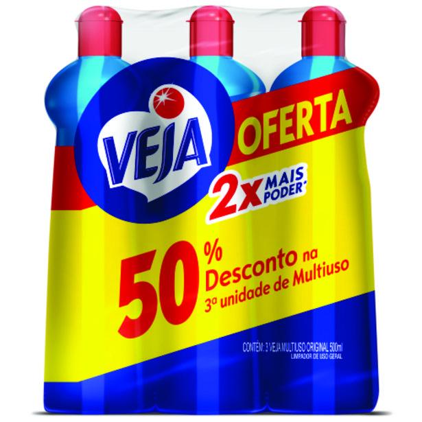 Oferta de Veja Multi-uso 3x 500ml Trad.50% D. Na 3ª Unid. por R$9,99