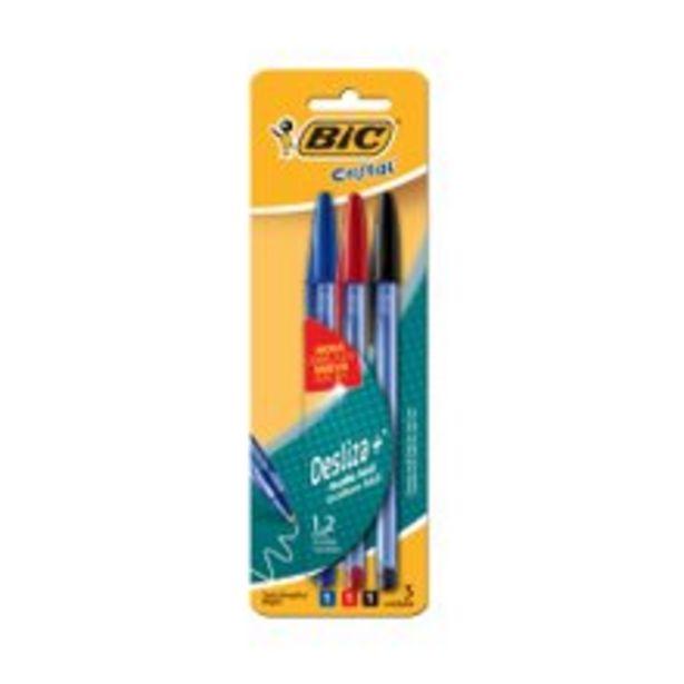 Oferta de Caneta Bic Cristal Soft 1 Azul + 1 Preta + 1 Vermelha por R$2,9