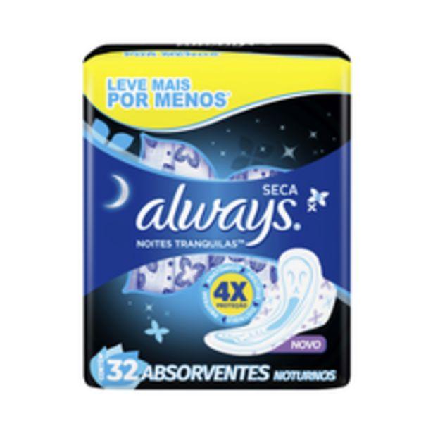 Oferta de Absorvente Always Noites Tranquilas Seca Com Abas 32 Unidades por R$20,9