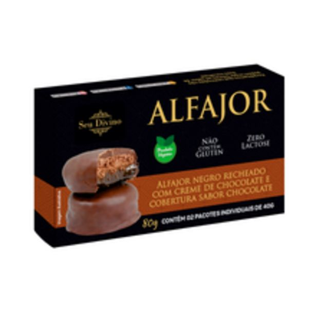 Oferta de Alfajor Seu Divino Vegano Recheado Com Chocolate 80g por R$19,35