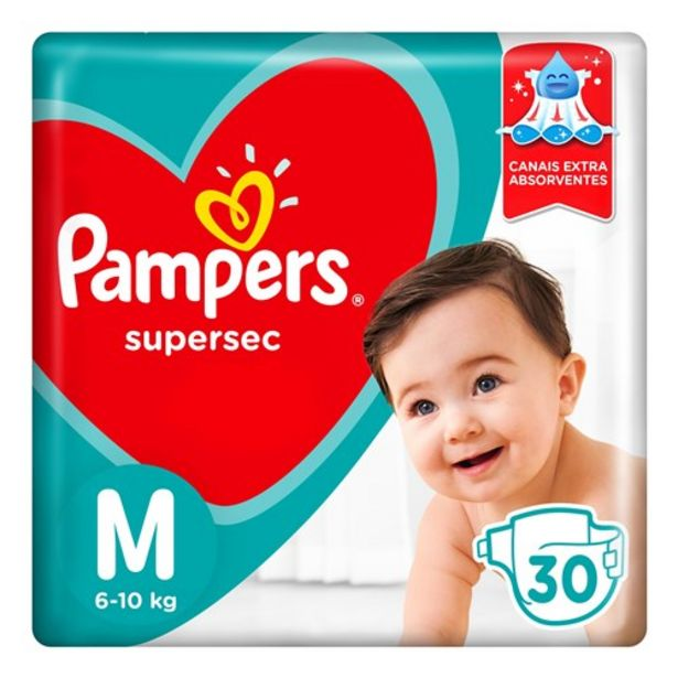 Oferta de Fralda M Pampers Supersec 30 Unidades por R$20,49