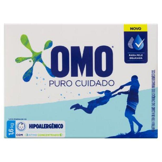 Oferta de Deterg.po Omo 1,600kg +puro Cuidado por R$19,98