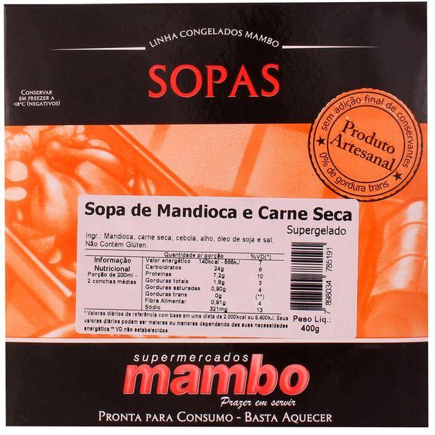 Oferta de Sopa de Mandioca com Carne Seca Mambo 400g por R$26,9