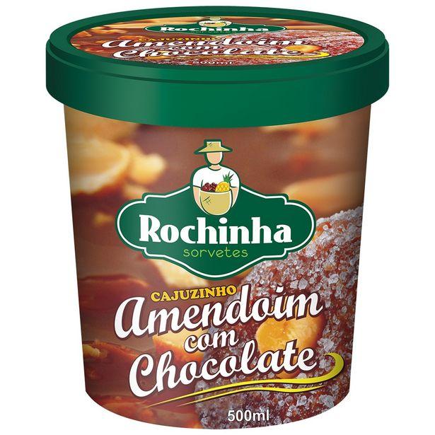 Oferta de Sorvete de Massa Amendoim com Chocolate Rochinha Pote 500ml por R$32,69