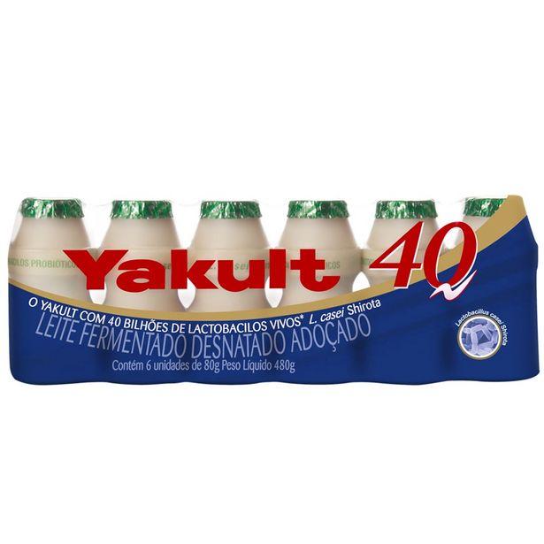 Oferta de Leite Fermentado Yakult 40 80g com 6 unidades por R$9,99