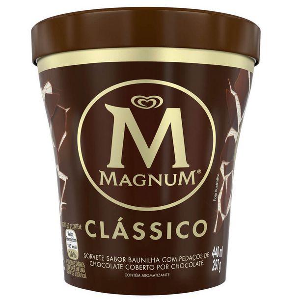 Oferta de Sorvete Chocolate Clássico Magnum Pote 440ml por R$42,9