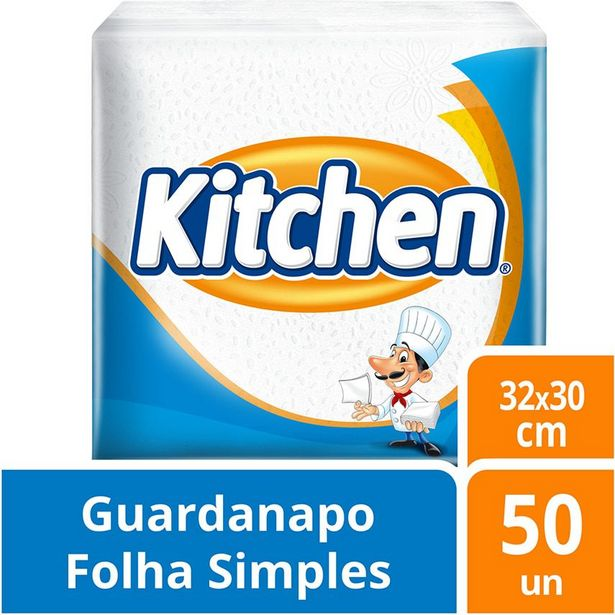 Oferta de Guardanapo Kitchen 32cm x 30cm  com 50 unidades por R$3,99
