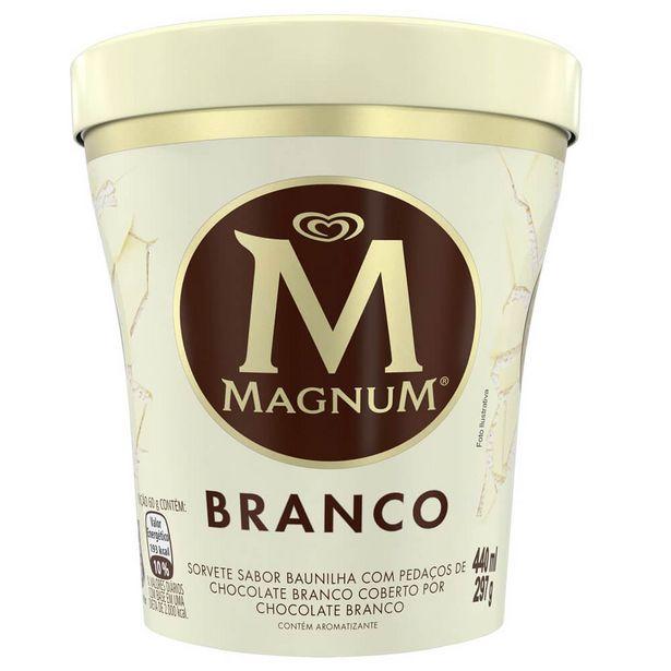 Oferta de Sorvete Chocolate Branco Magnum Pote 440ml por R$42,9