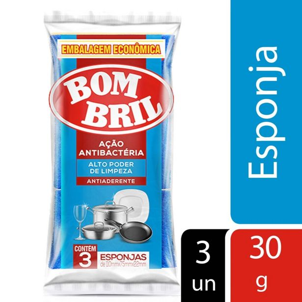 Oferta de Esponja Bombril Antiaderente com 3 unidades por R$3,99