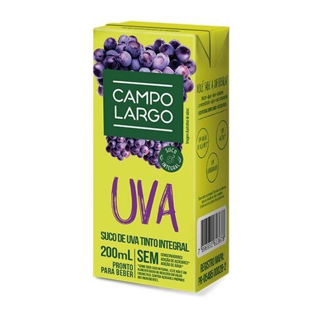 Oferta de Suco de Uva Integral Campo Largo 200ml por R$2,99