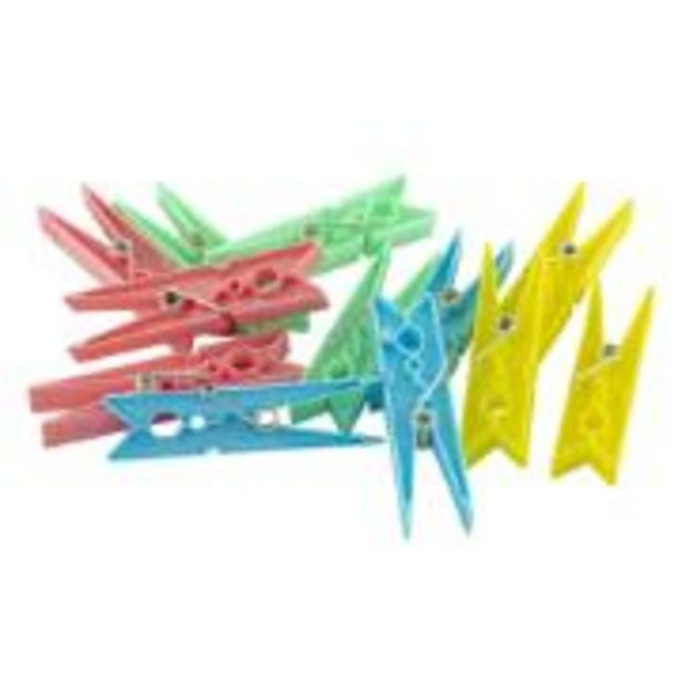 Oferta de Prendedor de Roupas Plástico 12 Unidades Colorido 024 -... por R$4,99
