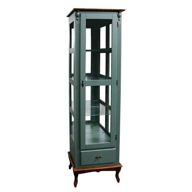 Oferta de Cristaleira 1 Porta de Vidro 1 Gaveta 1078 Verde/ Imbuia Glazer Meyer Móveis por R$1159
