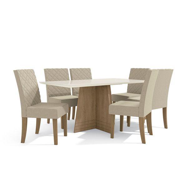 Oferta de Mesa de Jantar com 6 Cadeiras Lotus Freijó/Off White - Kappesberg por R$2599