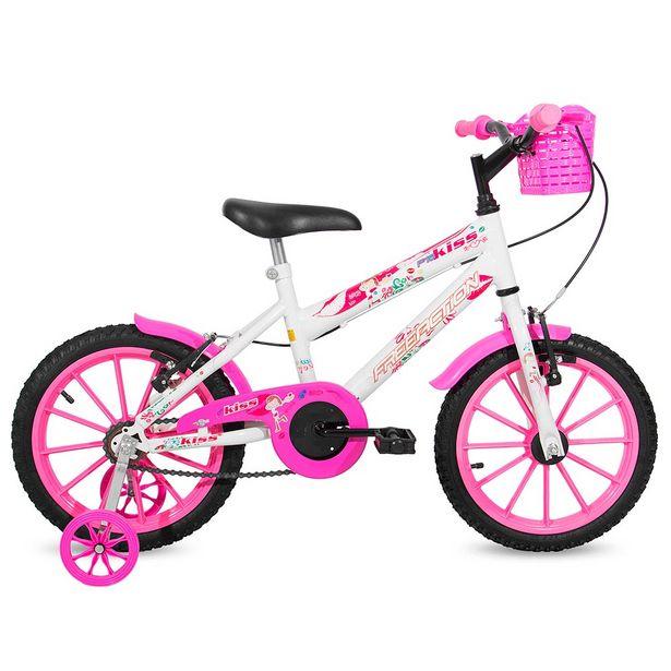 Oferta de Bicicleta Infantil Free Action Kiss Aro 16 Quadro Aço de Carbono Branco com Rosa por R$469