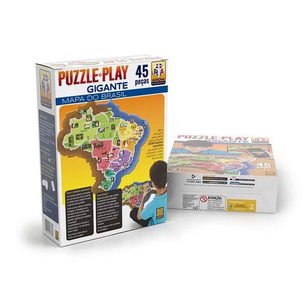 Oferta de Puzzle Play Gigante 45 Peças Mapa do Brasil 3635 - Grow por R$26,99
