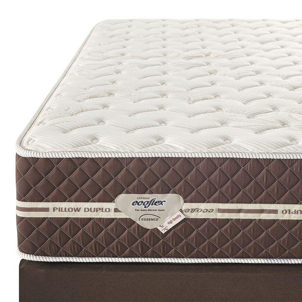 Oferta de Conjunto Box Queen Size High Density 158x70 Molas Superlastic Pillow Top Duplo Marrom - Ecoflex por R$1490