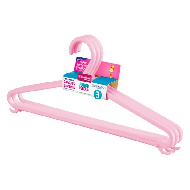 Oferta de Cabide Infantil Conjunto 3 Peças Rosa-Sanremo por R$7,99