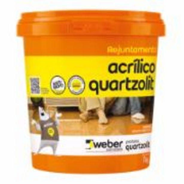 Oferta de Rejunte Acrílico Cinza Platina Balde 1kg - Quartzolit por R$28,9
