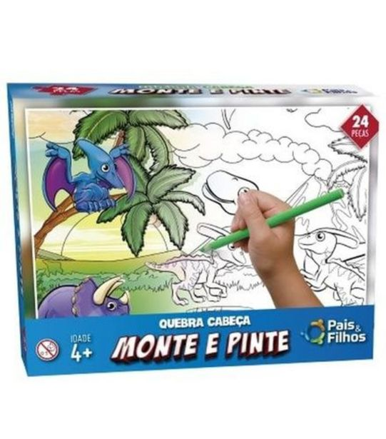 Oferta de Quebra Cabeça Monte e Pinte Dinossauro 24 Peças Pais e Filhos 995 por R$14,99