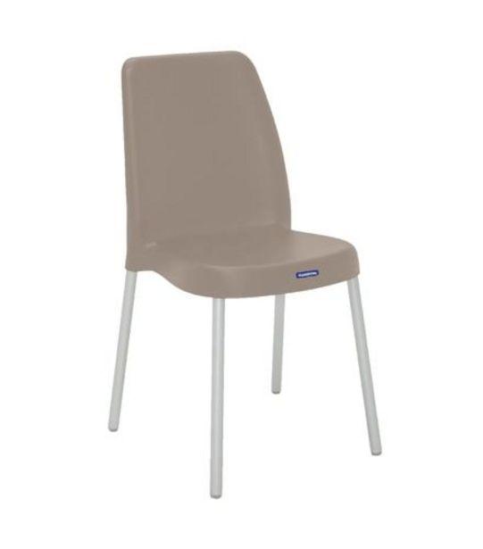 Oferta de Cadeira Vanda com Pernas Anodizadas Camurça Tramontina 92053921 por R$99,99