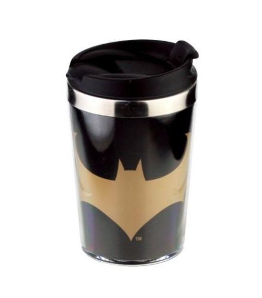 Oferta de Mini Copo Térmico Batman Core Preto Gold Logo 250ml 44230 por R$19,99