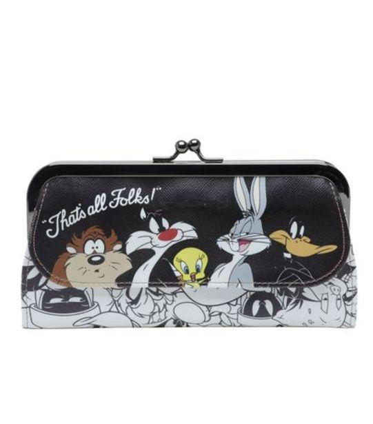 Oferta de Carteira  Plástica Looney Tunner 20x2,5x11,5cm Preta por R$29,99