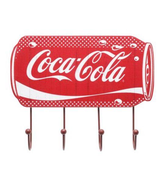 Oferta de Cabideiro de Parede Coca-Cola Vermelho em Madeira 4 Ganchos 25x20cm por R$34,99