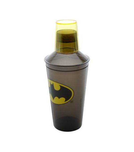 Oferta de Coqueteleira Plástico Batman Preto Amarelo 9X9X18Cm 450Ml por R$14,99