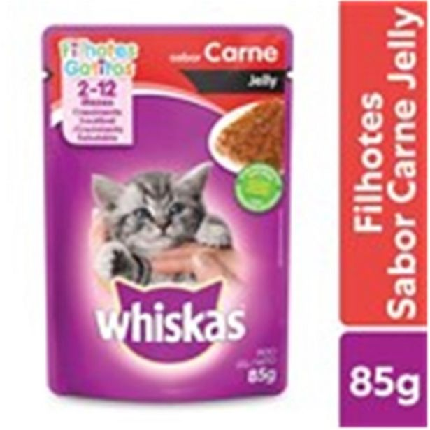 Oferta de Ração Úmida para Gatos Filhotes Whiskas Carne Jelly 85G por R$2,75