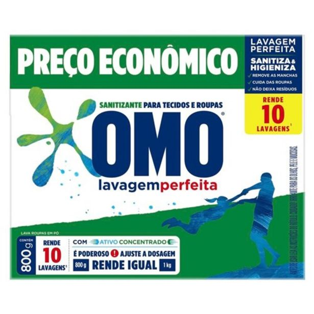 Oferta de Sanitizante Omo Higieniza e Sanitiza 800G por R$10,38
