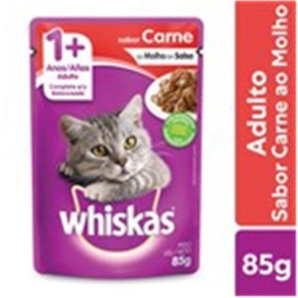 Oferta de Ração Úmida para Gatos Adultos Whiskas Carne 85G por R$2,75