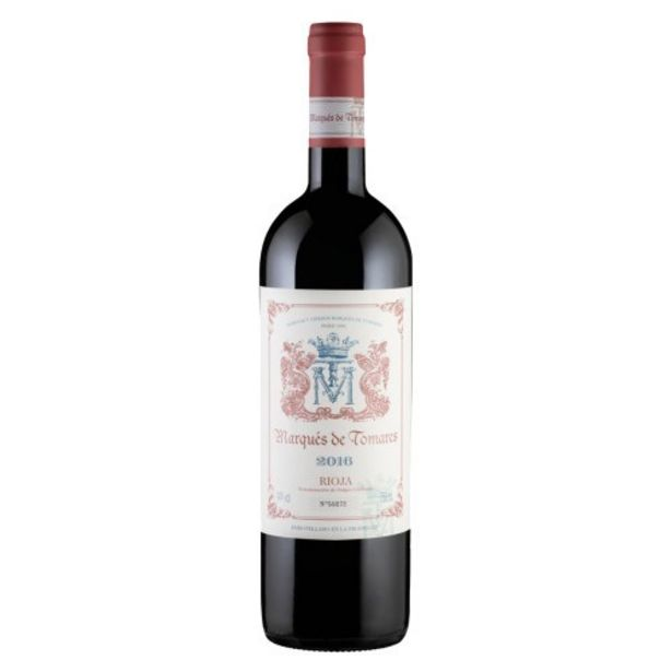 Oferta de Vinho Espanhol Tinto Seco Crianza Marqués de Tomares Tempranillo Graciano Rioja Garrafa 750Ml por R$133,23