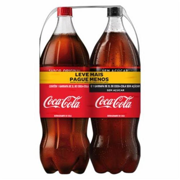 Oferta de Coca-Cola 2L + 1 Coca-Cola sem Açúcar 2L por R$15,47