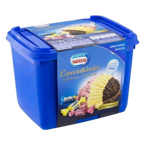 Oferta de Sorvete Nestlé Especialidades Napolitano 1,5L por R$21,18
