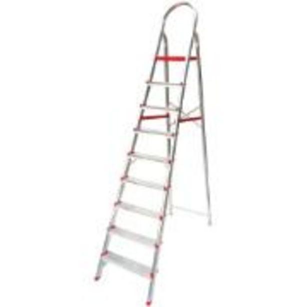 Oferta de Escada Tesoura em Alumínio 9 Degraus Prata ESC0068 -... por R$299