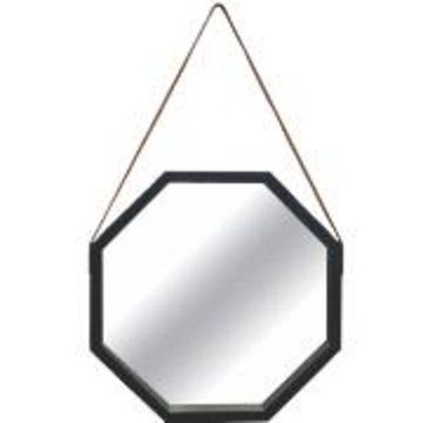 Oferta de Espelho Decorativo de Parede Oitavado 40x40 cm com Alça Preto - Art ... por R$69,9