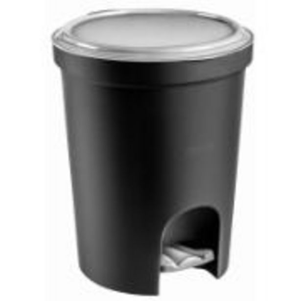 Oferta de Lixeira com Pedal Redonda Plástico 13,5L Preta - Sanremo por R$37,9