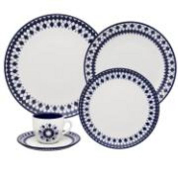 Oferta de Aparelho de Jantar e Chá de Porcelana 20 Peças Chess Azul Escuro ... por R$399