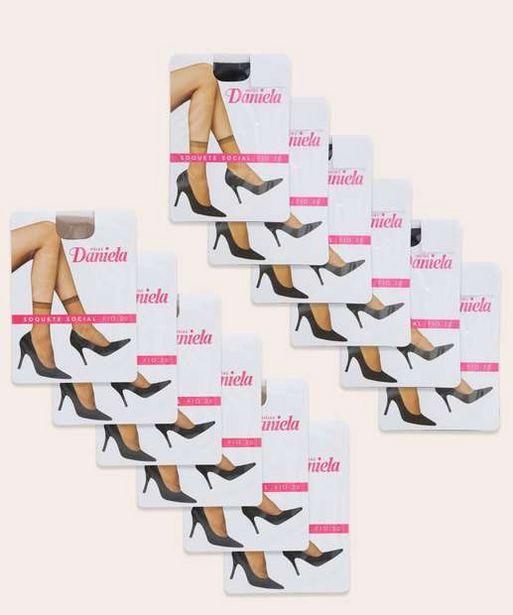 Oferta de Kit 12 Pares Meias Soquete Social Feminina Fio 20 por R$23,99