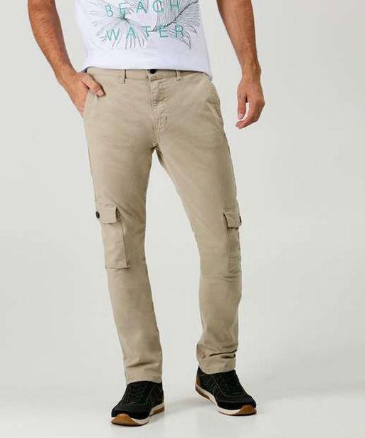 Oferta de Calça Masculina Sarja Slim Cargo MR por R$65,99