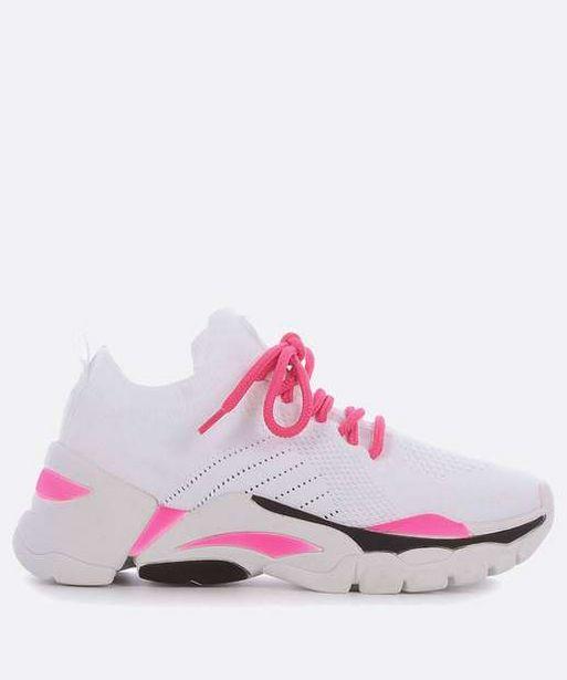 Oferta de Tênis Feminino Chunky Sneaker Recorte Neon Zatz por R$95,99